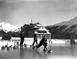 Picturesque setting for Curling at the 1948 St. Moritz games.