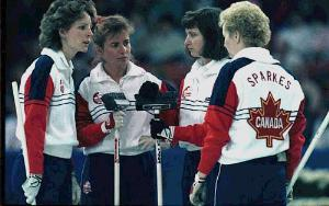 Canada's Gold Medal team: (L-R) Lead Penny Ryan, Second Debbie Jones, Skip Linda Moore, Third Lyndsay Sparkes